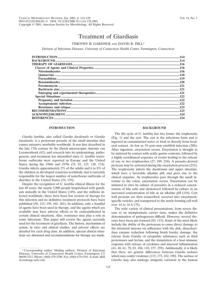 tinidazol a giardiasis kezelésére